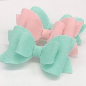 Mint and Pink Felt Bows
